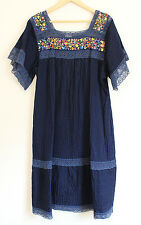 Navy Blue Mexican Hand Embroidered Floral 100% Cotton Dress Lace Trim Size XL