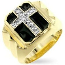 18K GOLD EP DIAMOND SIMULATED ROUND CUT MENS CROSS RING size 7 -14 you choose