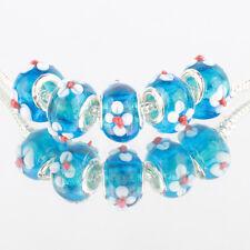 Blue flower 3D 5pcs MURANO glass bead LAMPWORK fit European Charm Bracelet