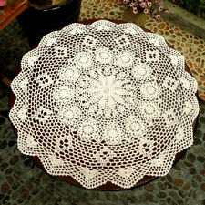 23.6'' Handmade Round Vintage Cotton Crocheted Doilies Lace Doily White Beige