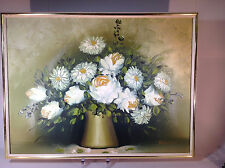 Vintage Floral Oil Painting of White Flowers in Vase by Famous Artist Pasanault