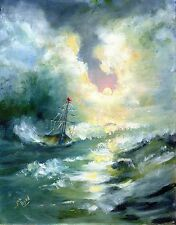 Sailing ship art,boat canvas art,original painting large,beach framed wall art,