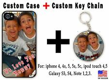 Holiday Gift Custom iPhone 4 5  5c 6 Ipod personalized Hard Cover With Key Chain
