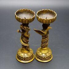Old antique Collectible Handwork Exquisite Bronze Dragon and Phoenix Candlestick