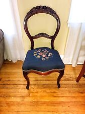 vintage Wood Carved needlepoint Chair