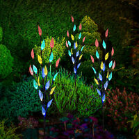 3 x Stylish Colour Led Lights Branch Tree Leaf Solar Powered Outdoor Garden