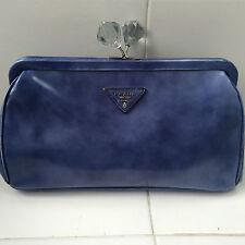 PRADA Spazzolato Blue Leather Kiss Lock Clutch Handbag $1295