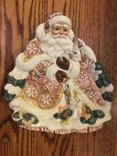 Fitz and Floyd Classics Santa Christmas Snack Platter Tray 10.5 x 9.25 inches