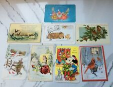 VTG Walt Disney Mickey Mouse Postcard A Jolly Holiday Christmas PLUS 7 oversided