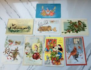 VTG Walt Disney Mickey Mouse Postcard A Jolly Holiday Christmas PLUS 7 oversided