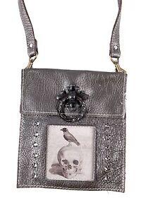 KBD Leather Small Cross Body Bag Bronze Leather Raven Skull Design Crystals