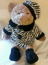 Jumbo Teddy Bear Plush Stuffed Animal Alley Zebra Print Winter Coat Hat Outfit C