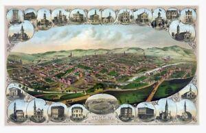 "1879 Birds Eye Map, York, Pennsylvania  Vintage Map 11"" x 17"" Reprint"