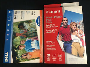 Canon Photo paper Plus glossy 4x6 New 120 + Most of One DELL Used
