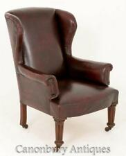 Victorian cuir tailleur Wing fauteuil