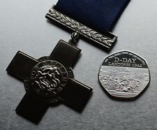 British George Cross Service Medal & Silver WW2 D-Day Landings Commemorative