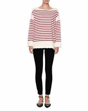 NEW Dolce & Gabbana Striped Lace-Trim Pullover Top, Red/White- size 38 $695