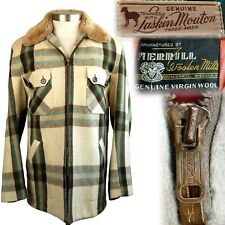 New listing 1940s Vintage Laskin Lamb Mouton Merrill Woolen Mills Plaid Coat 40 42