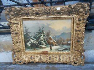 tableau ancien huile sur toile école belge signé 19 ième paysage enneigé