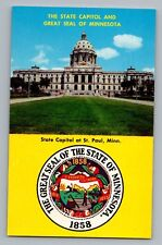 St. Paul Minnesota MN State Capitol Great Seal Postcard 1950s