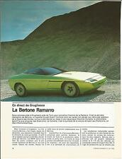 REPORTAGE MAGAZINE NAISSANCE BERTONE RAMARRO 6 PAGES ANNEE 1984