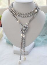 52inchPretty design stunning south sea  silver grey +white pearl necklace 52inch