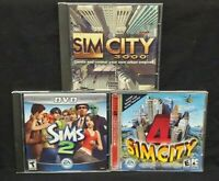 Sims 2, City 3000, Simcity 4 (Jewel Case,  Windows PC) Game Lot Tested Working