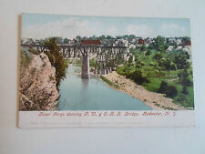 Vintage Postcard Colour Tinted River Gorge R.W+O.R.R Bridge Rochester New York