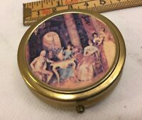 Vintage Brass Metal Pill Box With Lid Antique Collectible Good Condition