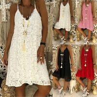 Women's Sexy Sling V-neck Lace Dresses Ladies Summer Holiday Beach Mini Sundress
