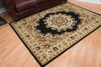 BLACK AND GOLD ROOMSIZE DESIGNER AREA RUG FOR THE HOME NEW JUST IN 8X10
