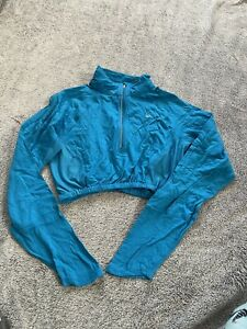 Nike Blue Cropped Long Sleeve Top Medium
