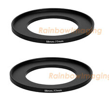 (2 Pack) 58-77mm 58 mm to 77 mm Metal Step Up Lens Filter Ring Adapter US Seller