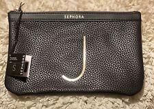Nwt Black Sephora J Monogram Makeup Cosmetic Bag Pouch Clutch Pebbled