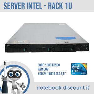 """Server Intel Rack 1U Core 2 Duo E8500 Ram 6gb HDD 2x 146gb SAS 3,5"""" Raid LSI"""