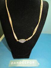 Nakamol Gem Slice Druzy Crystal Mesh Metal Bead Rope Necklace Jewelry