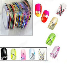 Nice 10 Color Rolls Striping Tape Line Nail Sticker DIY Kit Nail Art UV Gel Tips