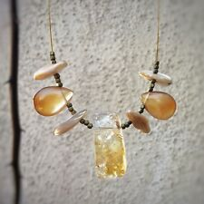 Citrine and red agate drops, brass beads, mother of pearl  claspless necklace