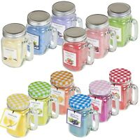 6 x Large Scented Candles in Glass Mason Jars Lid Home Gift Set Fruit Flavours