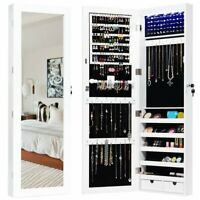 Door Mounted Lockable Mirrored Jewelry Cabinet with LED Lights