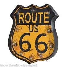 Large LED Metal  Rustic Route 66  Wall Art Vintage  Games Room  Sign