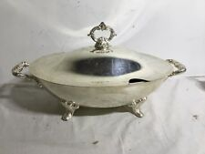 Vintage Silverplate  Footed Serving Dish with Lid And Handles Chafing Catering
