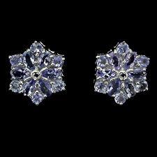 Ohrringe Tansanit Saphir blau 925 Silber 585 Weißgold