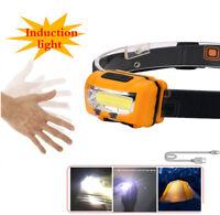 USB Rechargeable COB LED Headlight Light Waterproof Sensor Headlamp Lamp Bright