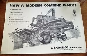 J.I. Case 1950's - 120 Combine Dealer Showroom Display Poster - Black and White