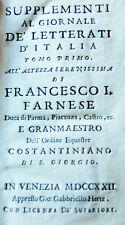 1722 GIORNALE DE'LETTERATI: NEWTON/SCIENZA/OTTICA/MEDICINA/GUERRA/RELIGIONE