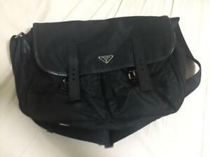 PRADA Messenger Bag Shoulder Bag Nylon Leather Black Mens Womens Unisex