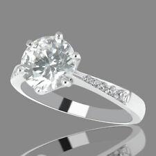 Natural 14K White Gold Round Cut Enhanced Diamond Engagement Ring 1.10 CT F/VVS2