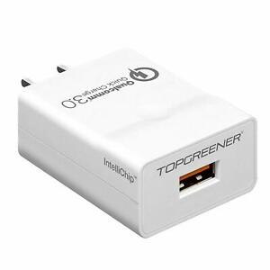 TOPGREENER Quick Charge 3.0 USB Wall Plug 18W Fast Charger Qualcomm Certified
