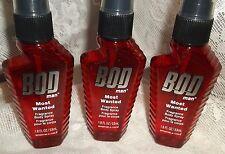3 Lot MOST WANTED Body Spray by Bod Man~Parfums de Coeur 1.8 oz = 5.4 oz